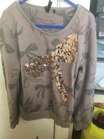 Girls next sparkly bow jumper