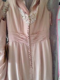 Dusky dusky pink Bridesmaid dresses, long length, detailed sequin cap sleave and neck line,