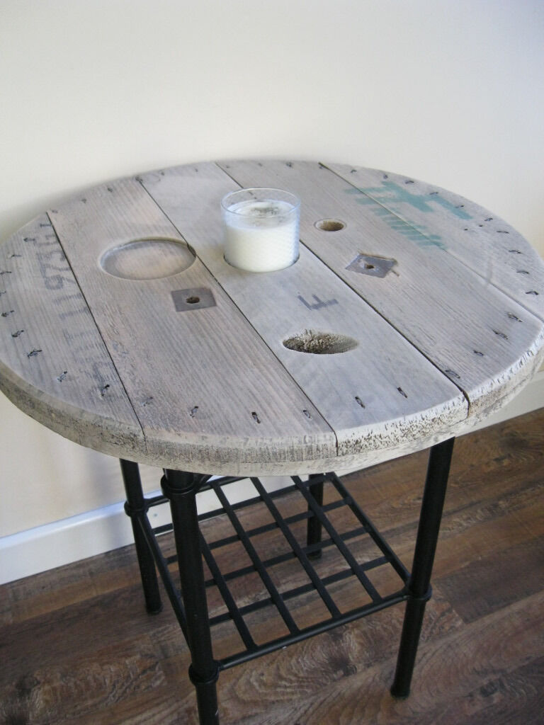 How to make a sofa table from cable wood reel - Rustic Upcycled Cable Drum Table Cable Reel Table Coffee Occasional Side Table Choice
