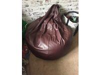 Brown Leather-Look Beanbag