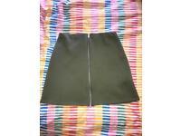 Ladies Boohoo Navy Green Zip Front Skirt Size 8