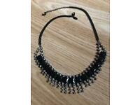 Black and silver diamond statement necklace