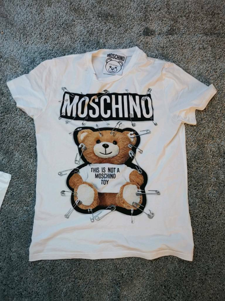 2b264f85a11 Moschino couture safety pin Teddy bear t shirt