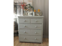 Shabby chic Victorian chest of 5 drawers/tallboy by Eclectivo