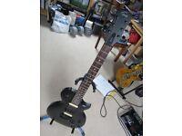 GOULD SPECTRE GUITAR 6 STRING ELECTRIC BLACK LES PAUL LAYOUT SPLIT COILS THROUGH NECK HARD CASE