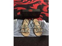 Ladies flat silver diamanté sandals brand new still with box and tissue paper