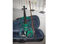 Electric Violin 4/4 with Bow, Case, Mini Amp, Cable, Rosin and Spare Strings