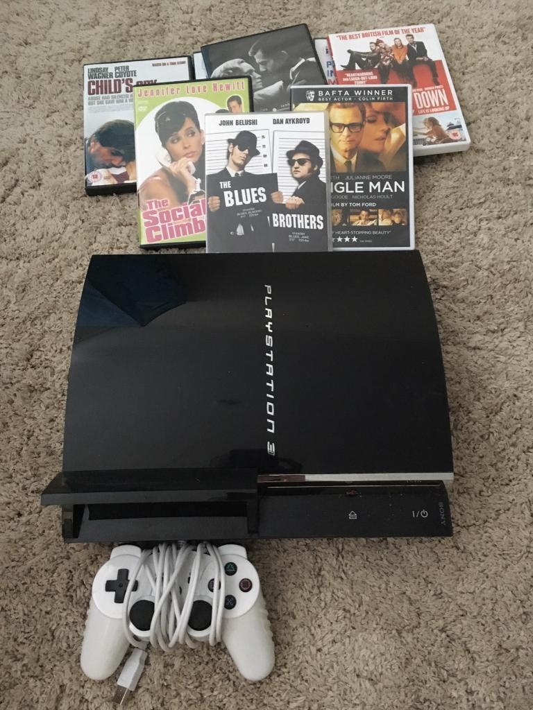 60gb PS3PlayStation 3 Consolein Guildford, SurreyGumtree - Backward compatible with PS2 and plays bluray and dvds , wired controller and leads ( no games ) will include several DVD films