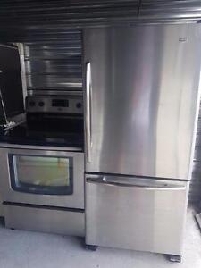 Duo cuisinière et frigidaire de marque maytag stainless fonctionne très bien Possibilité de livraison