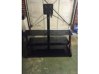 Large Black glass/wooden 3 tier TV stand
