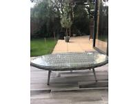 Rattan grey outdoor coffee table with glass too