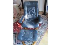 Leather recliner armchair with footstool, dark blue with teak base
