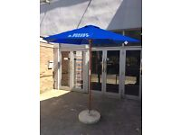 Large Bud Light Blue Wooden Parasol 2.5 meters high with Concrete Base *New*