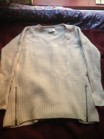 Abercrombie and Fitch cream jump with zip detail. size large