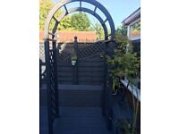 Large Solid Wooden Grey Garden Arch