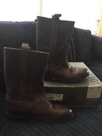 Genuine Gstar raw brown leather boots size 9