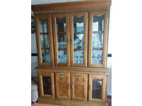 GLASS FRONTED WOODEN WALL UNIT
