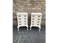 Vintage shabby chic bedside drawers pair of bedside cabinets bedside tables