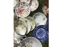 Assorted pretty vintage china odd cups saucers plates