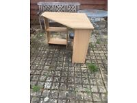 Wooden Corner Desk w/ Shelves