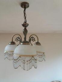 Pair Antique Brass Light Fittings