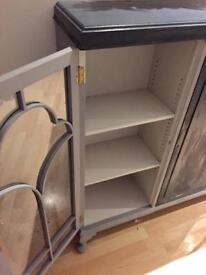 REDUCED PRICE £35 ONO Glass fronted cabinet grey/dark grey
