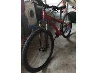 "Red/white/black Specialized Hardrock Bike (26"" wheels)"