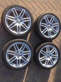 A really nice set of Genuine Audi A3 wheels, in very good condition. 2 new Dunlops, 2 Bridgestones