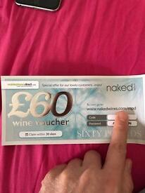 £60 off wine voucher