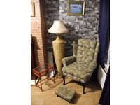 Old arm chair in very good condition also comes with matching foot stool