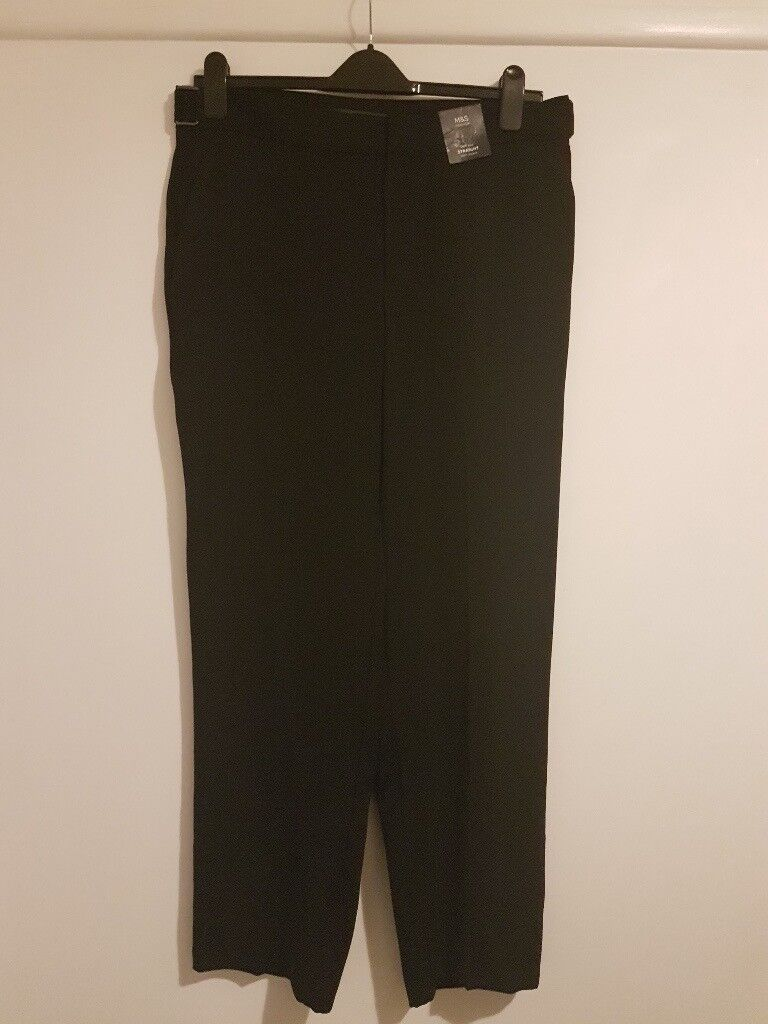 Ladies Black Trousers - high rise, straight - size 16R - new