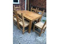 Extending oak table 6 chairs