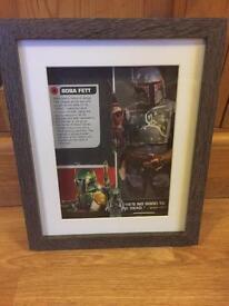 Star Wars minifigure boba fett framed picture.