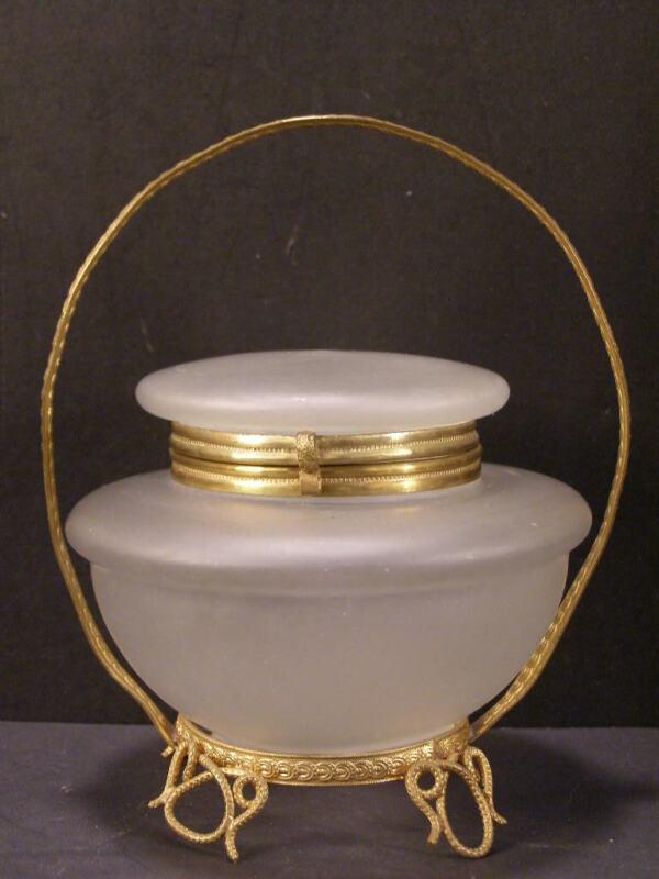 1900 Satin Glass Powder Jar Ormolu Holder Jewelry Casket Trinket Vanity Dresser~