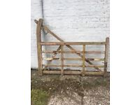 Two gates- horned wooden farm gates with original metal fixings