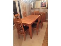 Natural Oak Dining Table, 6 high back chairs & matching Oak sideboard.