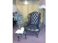 CHESTERFIELD QUEEN ANNE AND FOOTSTOOL