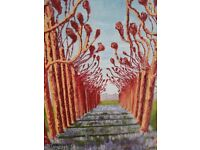 Pair of bright floral acrylic paintings by local Winchester artist