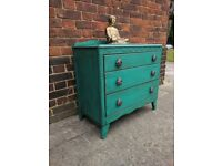 Small vintage chest of drawers. Rustic boho shabby chic. Peacock green. LOCAL DELIVERY.