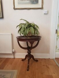 "ANTIQUE VICTORIAN SOLID MAHOGANY WINE TABLE WITH DETACHABLE TRAY 27"" X 23"" EXCELLENT CONDITION"