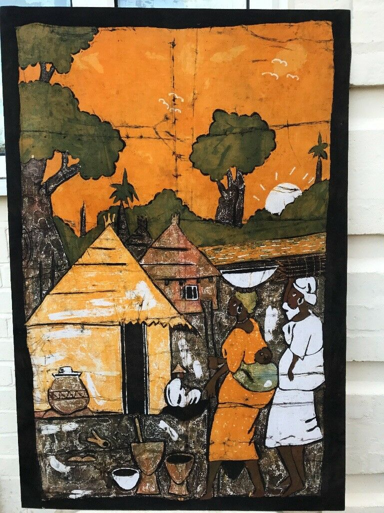 Authentic Original African Painting of a Village Scene