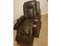 recliner arm chair , very dark brown