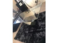 Tempered glass coffee table & matching console table.