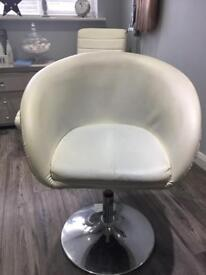 Height adjustable white swivel tub chair salon hair