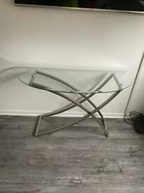 Rounded Glass console table