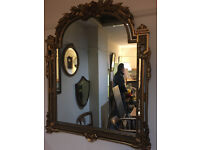 Beautiful Large Heavy Arched Top Rococo Style Ornate Floral Carved Gilt Hanging Over-mantle Mirror