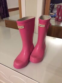Pink hunter wellie boots