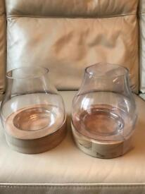 Candle holders x 2 large ( wood base ) thick glass bowl BRANDNEW