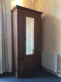 Antique Wardrobe with mirror, drawer and removable internal shelves