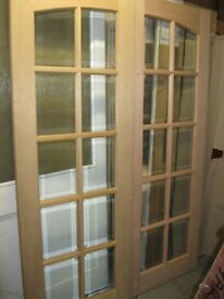 """Hardwood Internal French Doors For Sale, 78"""" x 54"""" x 40mm ONLY £90."""